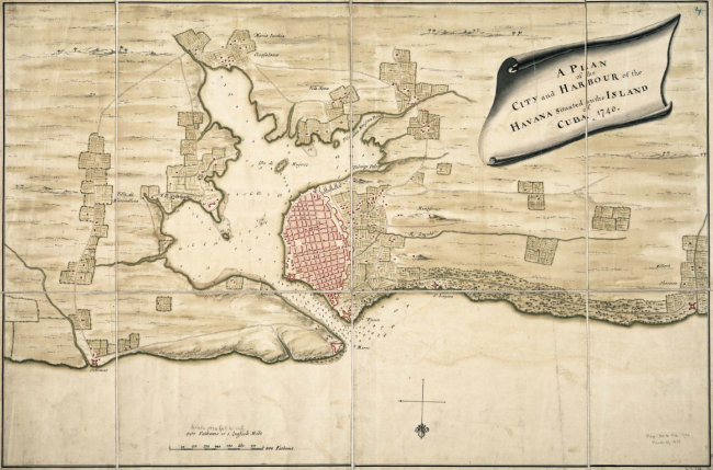 havanamap1740_Plan_of_the_city_and_harbour_of_the_Havanna_situated_on_the_island_of_Cuba_BPL_m8628 -650wide